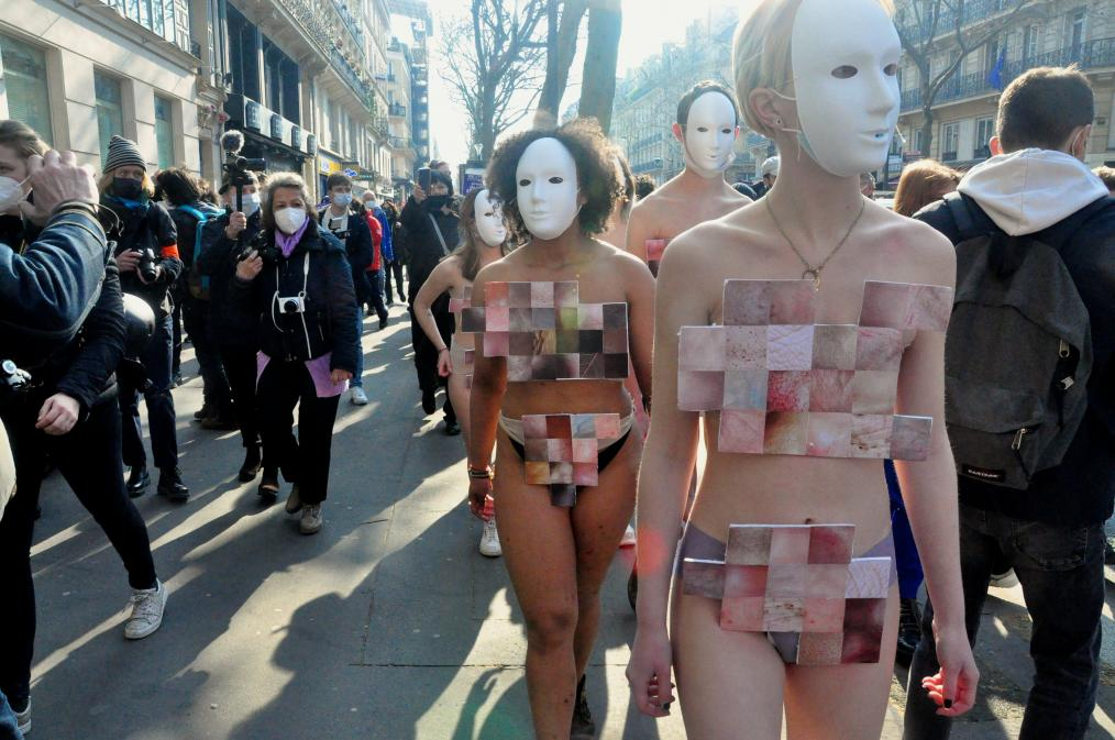 Feminist strike and protest, Paris, France (March 8, 2021)